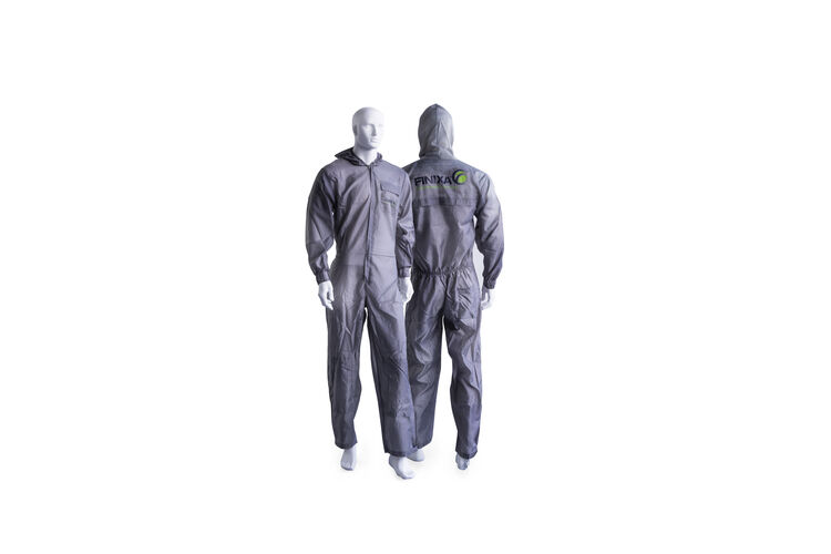 Polyester spray overall with optional grey knee protection